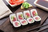 Sushi rolls with tuna and cucumber