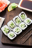 Sushi rolls with cucumber and sesame seed