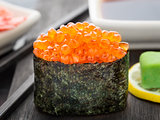 Close up of gunkan sushi