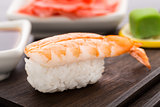 Nigiri sushi with shrimp