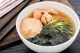 Noodle soup with salmon teriyaki