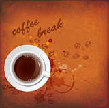 Vintage background with cup of coffee
