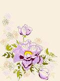 Decorative background with peony flowers