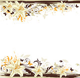Decorative background with white lily