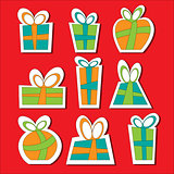 Collection of vector colorful Christmas present boxes. Decorative items. Set of sticks.