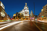 Alcala and Gran Via street in Madrid by night