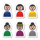 User, young and old people icons set