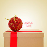 joyeux noel, merry christmas in french, with a retro effect
