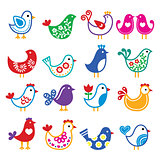 Folk art colorful birds vector icons set