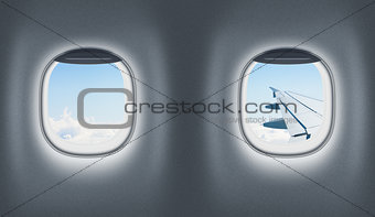 Airplane or jet interior, flight or traveling concept.