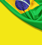 Flag of Brazil on yellow background. Clipping path for flag is i