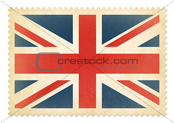 Brittish postage stamp with The Great Britain flag isolated. Cli