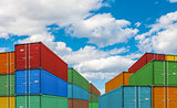 export or import shipping cargo container stacks in port
