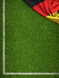 Soccer field with flag of Germany