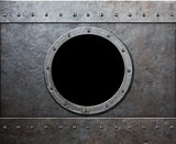 steam punk submarine or military ship window
