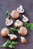fresh organic mushrooms champignon with parsley leaves