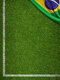 Soccer field with flag of Brazil