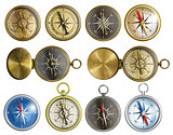 ten nautical isolated compass set