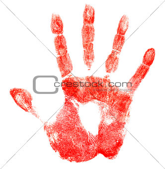 Bloody red hand print isolated on white