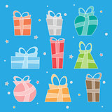 Collection of vector colorful Christmas present boxes. New Year gifts set.