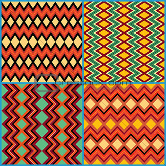 Four seamless ornamental patterns on ethnic motifs