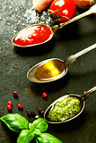 Tomato sauce, olive oil and pesto