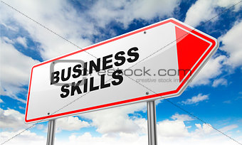 Business Skills on Red Road Sign.