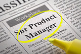 Snr Product Manager Vacancy in Newspaper.