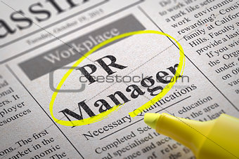 PR Manager Vacancy in Newspaper.