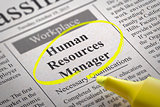 Human Resources Manager  Vacancy in Newspaper.