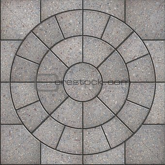 Gray Pavement  Slabs in the Form of Circle.