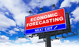 Economic Forecasting Inscription on Red Billboard.