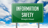 Information Safety on Highway Signpost.