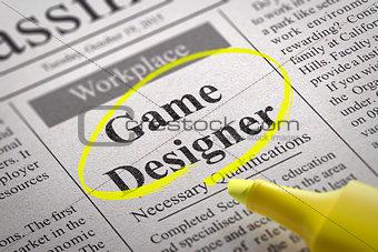 Game Designer Jobs in Newspaper.