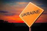 Ukraine on Warning Road Sign.