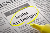 Senior Art Designer Vacancy in Newspaper.
