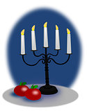 Apples and Christmas Candelabra