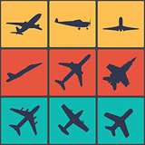 Airplane sign. Plane symbol. Travel icon. Flight flat label.