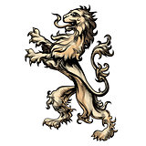 Heraldry lion drawn in engraving style