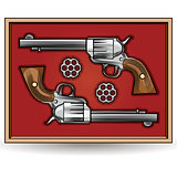 Set of revolvers drawn in vintage style