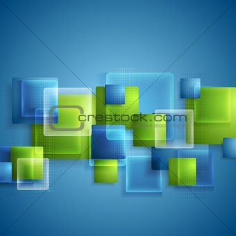 Bright glass transparent squares vector background