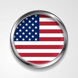 Abstract button with metallic frame. USA flag