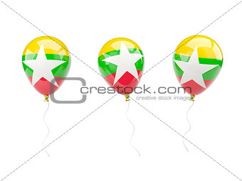 Air balloons with flag of myanmar