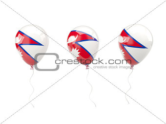 Air balloons with flag of nepal