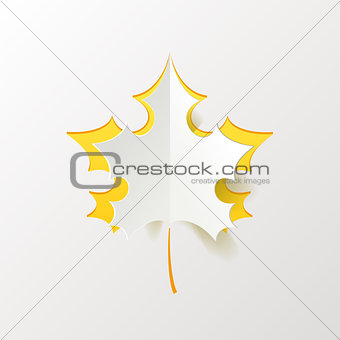 Abstract Yellow Maple Leaf Isolated on White Background