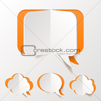 Abstract Orange Speech Bubble Set Cut of Paper