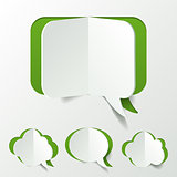Abstract Green Speech Bubble Set Cut of Paper