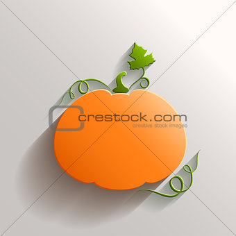 Abstract Pumpkin with Long Shadow over White Background
