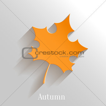 Abstract Orange Maple Leaf on White Background