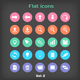 Vector Round Flat Icon Set 2 in Color Variation